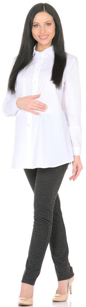 Блузка3069312170Блузка для беременных Mammy Size выполнена из полиэстера, вискозы и эластана. Модель с отложным воротником и длинными рукавами застегивается на пуговицы.