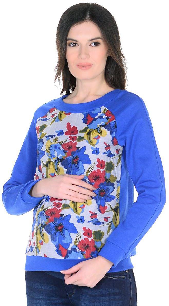 Свитшот2050352173Свитшот для беременных Mammy Size выполнен из натурального хлопка. Модель с круглым вырезом горловины и длинными рукавами оформлена цветочным принтом.