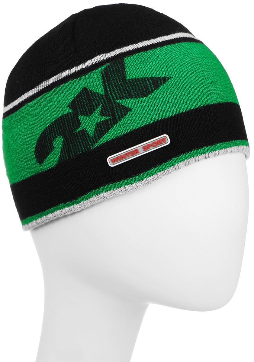 Шапка124024_black/green/silverСтильная вязаная шапка 2K Sport Nordic выполнена из высококачественного акрила. Шапка оформлена контрастными полосками, фирменным логотипом и декоративной нашивкой. Низ модели связан резинкой. Уважаемые клиенты! Размер, доступный для заказа, является обхватом головы.