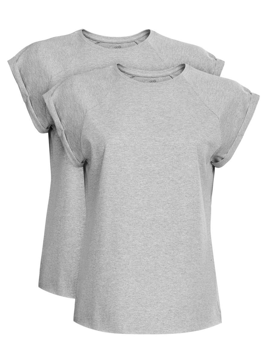 Футболка14707001T2/46154/2973PЖенская футболка свободного кроя oodji Ultra изготовлена из высококачественного натурального хлопка. Модель с короткими рукавами-реглан и круглым вырезом горловины оформлена декоративными отворотами на рукавах. Низ футболки имеет эффект необработанного края. В комплект входят 2 футболки.