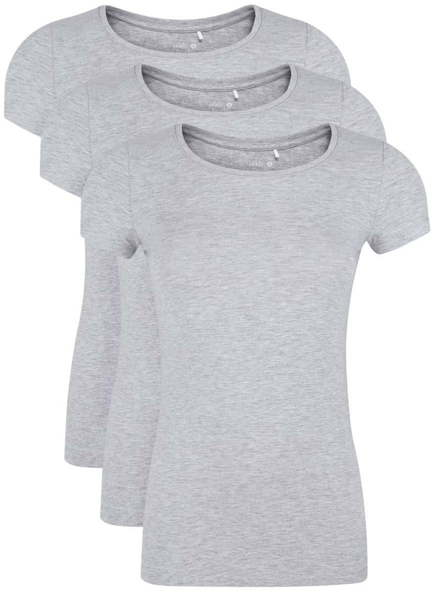 14701005T3/46147/2000MМодная женская футболка oodji Ultra изготовлена из хлопка с добавлением полиуретана. Модель с круглым вырезом горловины и короткими рукавами выполнена в лаконичном дизайне.
