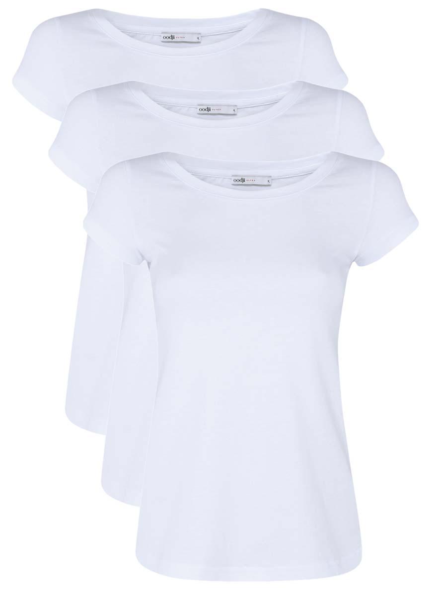 Футболка14701008T3/46154/1000NЖенская футболка oodji Ultra изготовлена из высококачественного натурального хлопка. Модель с короткими рукавами и круглым вырезом горловины имеет однотонную расцветку.