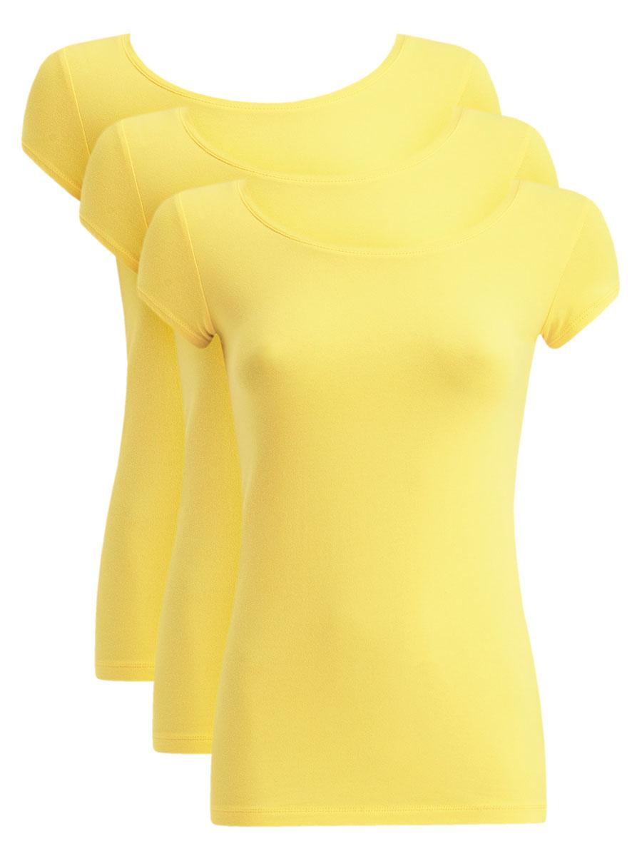 14701026T3/46147/6700NЖенская футболка oodji Ultra выполнена из эластичного хлопка. Модель с круглым вырезом горловины и короткими рукавами имеет приталенный силуэт. На спинке изделие украшено фигурным вырезом. В комплект входят 3 футболки.