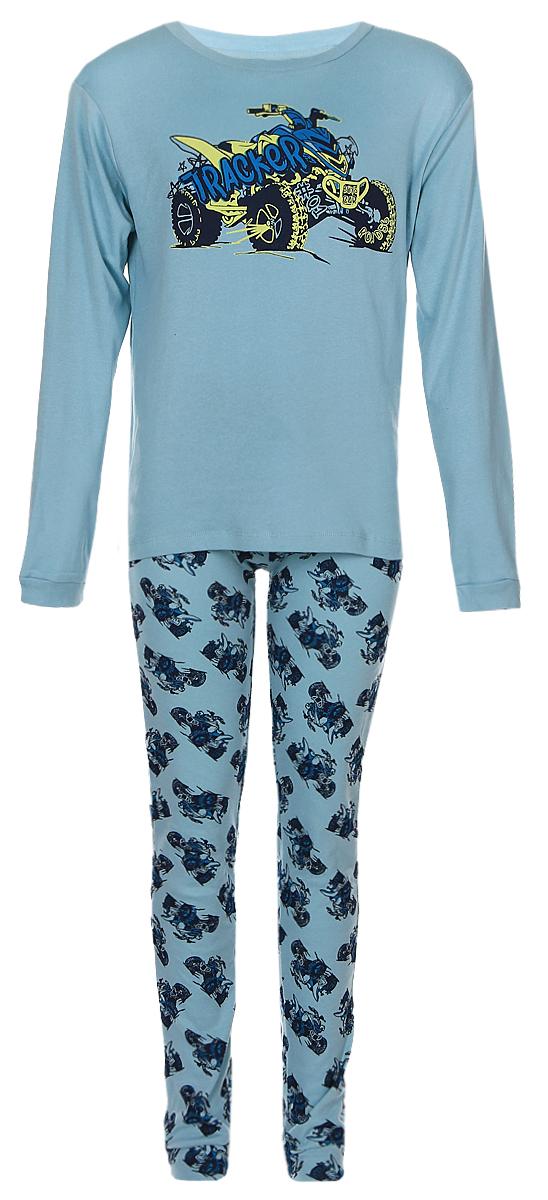 PYb-7862/009-6303Очаровательная пижама для мальчика выполнена из натурального хлопка. Кофта с длинными рукавами и круглым вырезом горловины. Брюки на талии имеют широкую эластичную резинку, благодаря чему, они не сдавливают живот ребенка и не сползают.