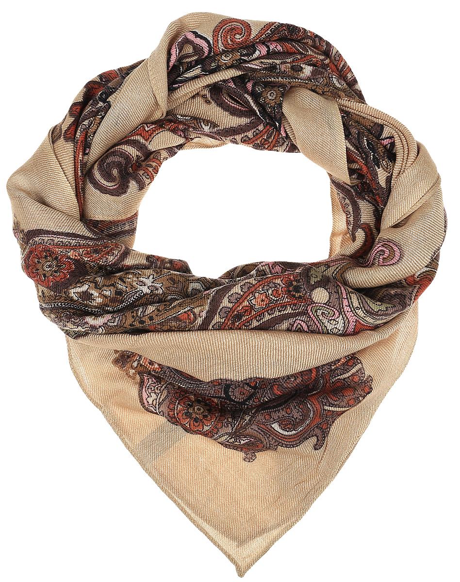 Платок4704ZIЭлегантный платок Dispacci выполнен из шерсти с добавлением вискозы. Оформлена модель интересным орнаментом.