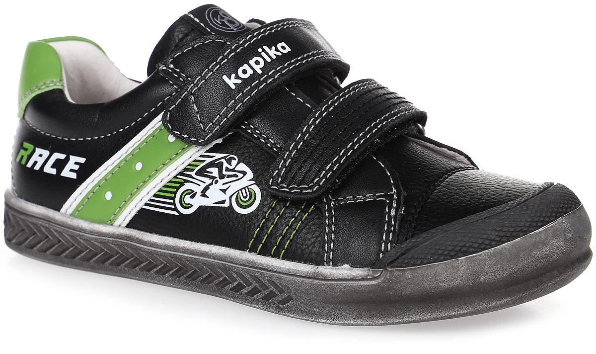 22444к-2Полуботинки выполнены из натуральной и искусственной кожи. Застежки-липучки обеспечивают надежную фиксацию обуви на ноге ребенка. Подкладка выполнена из натуральной кожи, что предотвращает натирание и гарантирует уют. Стелька с поверхностью из ЭВА-материала с поверхностью из натуральной кожи оснащена небольшим супинатором, который обеспечивает правильное положение ноги ребенка при ходьбе и предотвращает плоскостопие. Подошва с рифлением обеспечивает идеальное сцепление с любыми поверхностями.