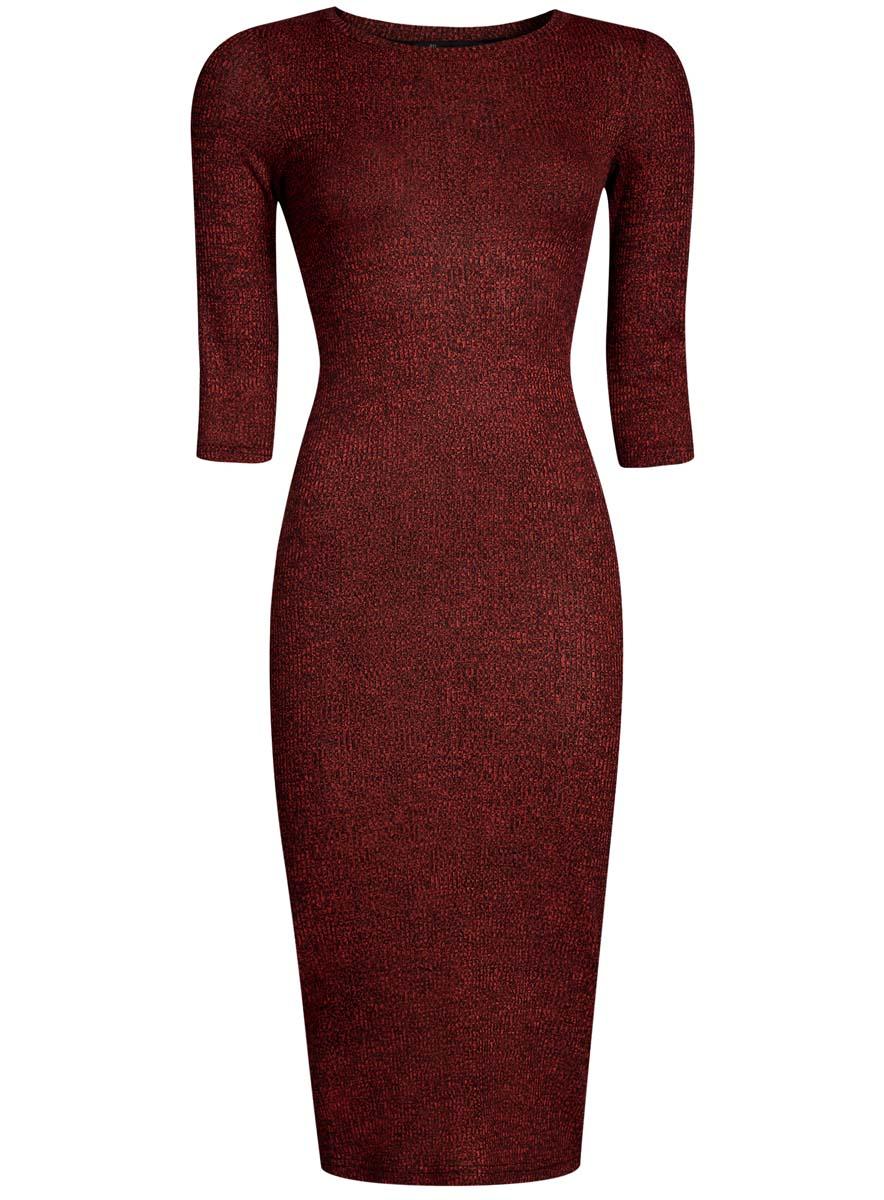 Платье14001169B/46370/2529MОбтягивающее платье oodji Ultra выполнено из качественного трикотажа в мелкий рубчик. Модель средней длины с рукавами 3/4 и круглым вырезом горловины выгодно подчеркнет достоинства фигуры.