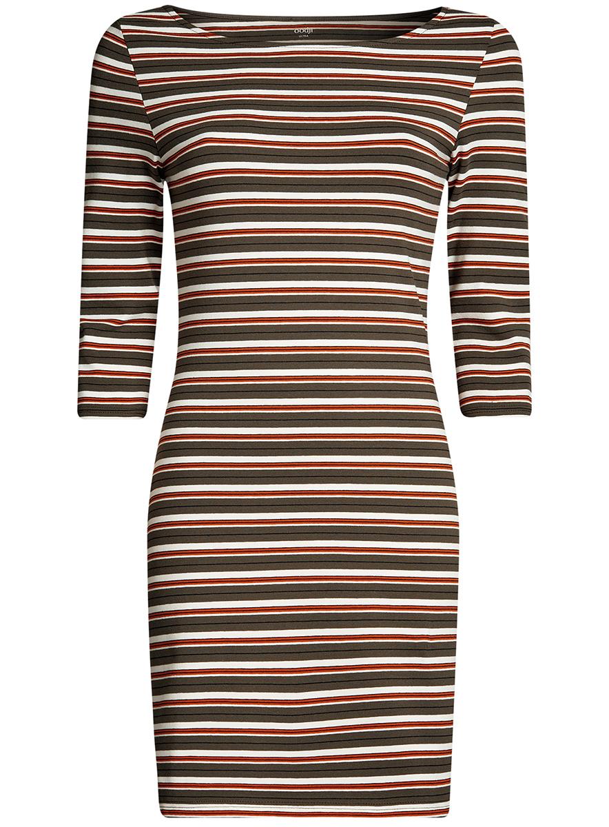 Платье14001071-2B/46148/3100NСтильное платье oodji, выполненное из хлопка с добавлением эластана, отлично дополнит ваш гардероб. Модель длины мини с круглым вырезом горловины и рукавами 3/4.