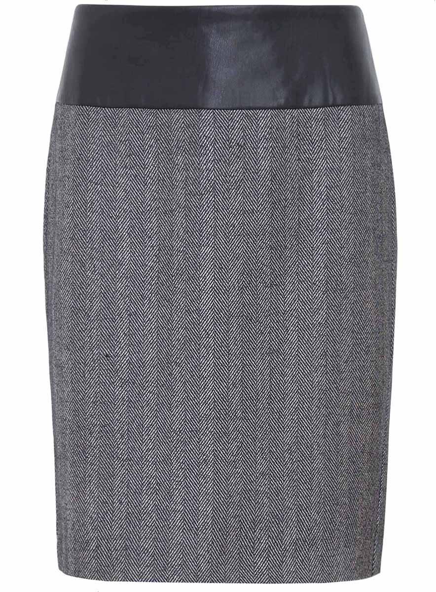 Юбка21602084-1/24130/2923GСтильная юбка выполнена из высококачественного материала и на поясе дополнена вставкой из искусственной кожи. Модель застегивается на потайную застежку-молнию.