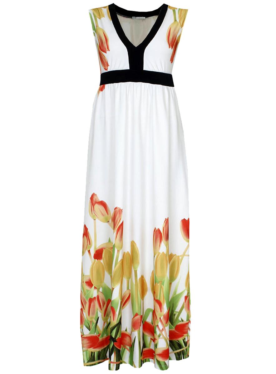 Платье24008023/26241/1045FЯркое платье oodji Collection выполнено из легкого воздушного материала. Модель макси-длины без рукавов оформлена оригинальным цветочным принтом. V-образный вырез горловины и завышенная талия оформлены контрастной черной вставкой.