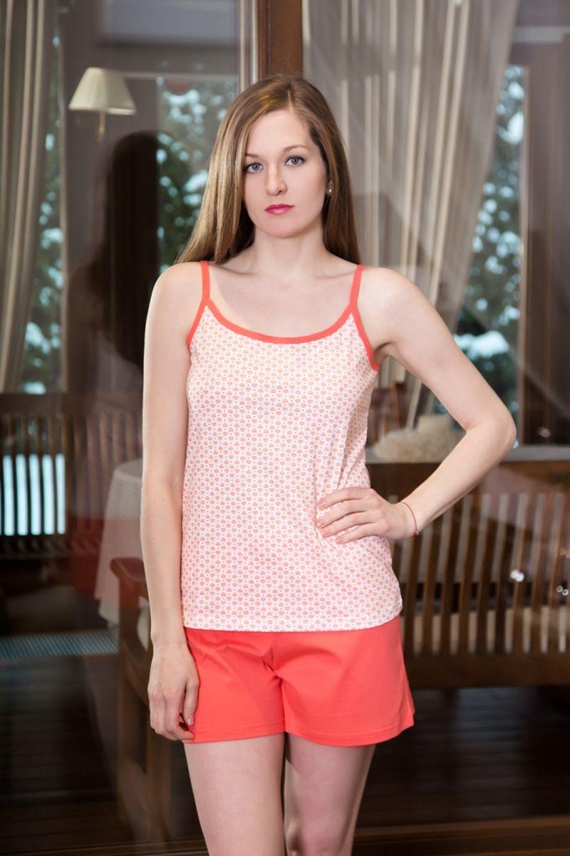 Домашний комплект17130109Домашний женский костюм Violett, состоящий из топа и шорт, изготовлен из натурального хлопка. Топ на тоненьких бретелях оформлен принтом с сердечками. Шорты с эластичным поясом имеют утягивающий шнурок, который улучшает посадку на талии. Выполнено изделие в лаконичном дизайне.
