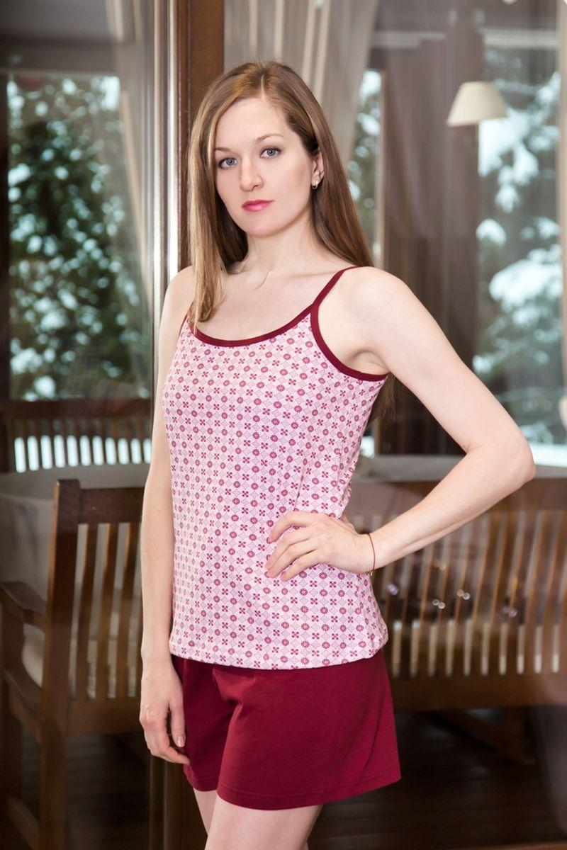 Домашний комплект17130109Домашний женский костюм Violett, состоящий из топа и шорт, изготовлен из натурального хлопка. Топ на тоненьких бретелях оформлен геометрическим принтом. Шорты с эластичным поясом имеют утягивающий шнурок, который улучшает посадку на талии. Выполнено изделие в лаконичном дизайне.