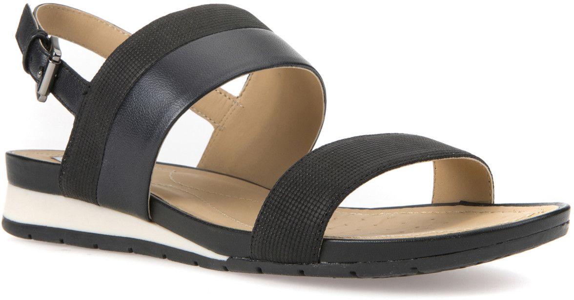 БосоножкиD7293C0SKBVC9999Модные босоножки Geox - незаменимая вещь в гардеробе каждой женщины. Модель выполнена из натуральной кожи. Ремешок с металлической пряжкой прочно зафиксирует изделие на ноге. Модные босоножки станут прекрасным завершением вашего летнего образа.