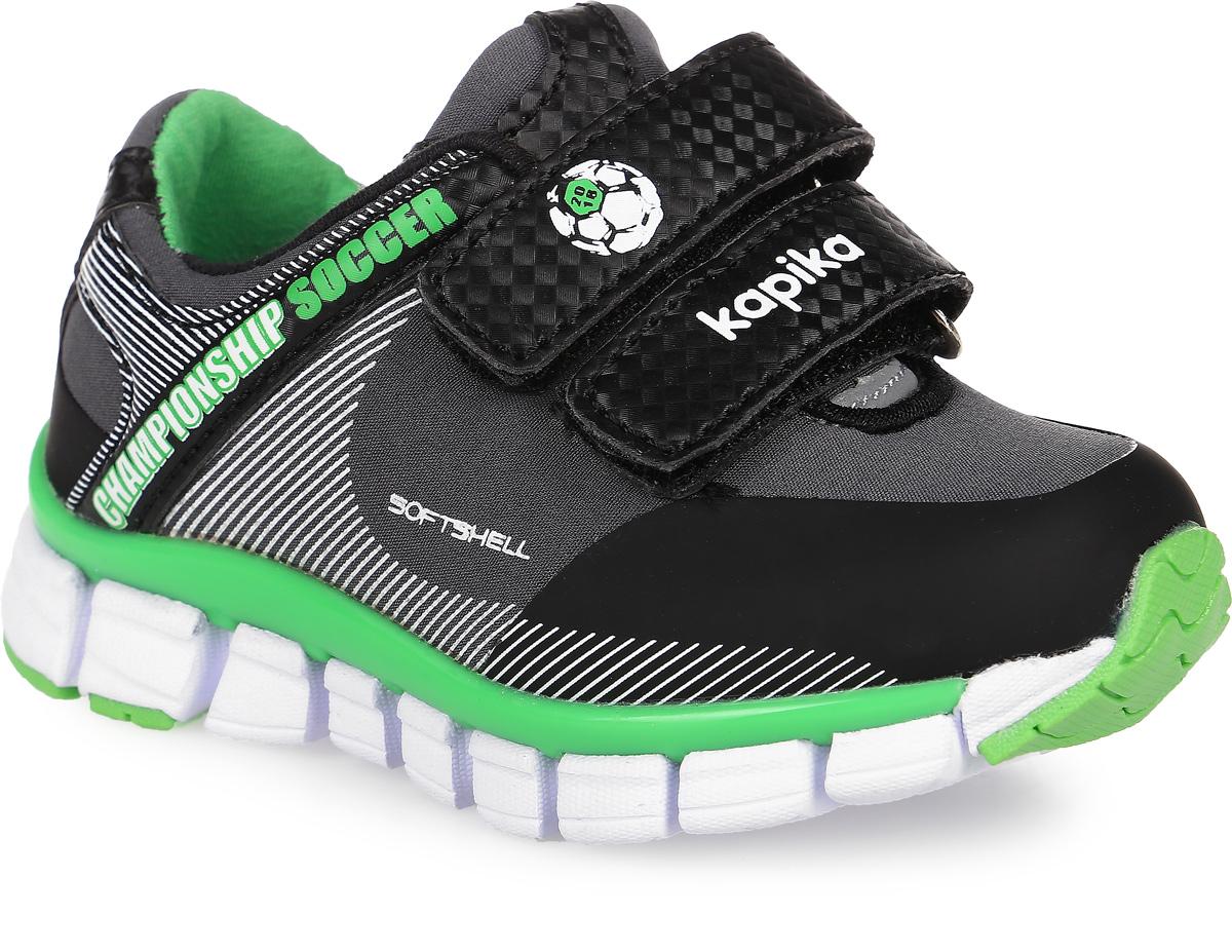 71082с-2Кроссовки от фирмы Kapika выполнены из текстиля с элементами из искусственной кожи и полимерного материала. Подъем модели оформлен застежками-липучками. Подкладка изготовлена из текстиля. Стелька из легкого ЭВА-материала с поверхностью из кожи дополнена супинатором, сохраняет комфортный микроклимат обуви, эффективно поглощает влагу, неприятные запахи и вибрации, снижает ударную нагрузку. Облегченная подошва из ЭВА со вставками из ТЭП и полимерного материала повышает износостойкость и сцепление с покрытием.