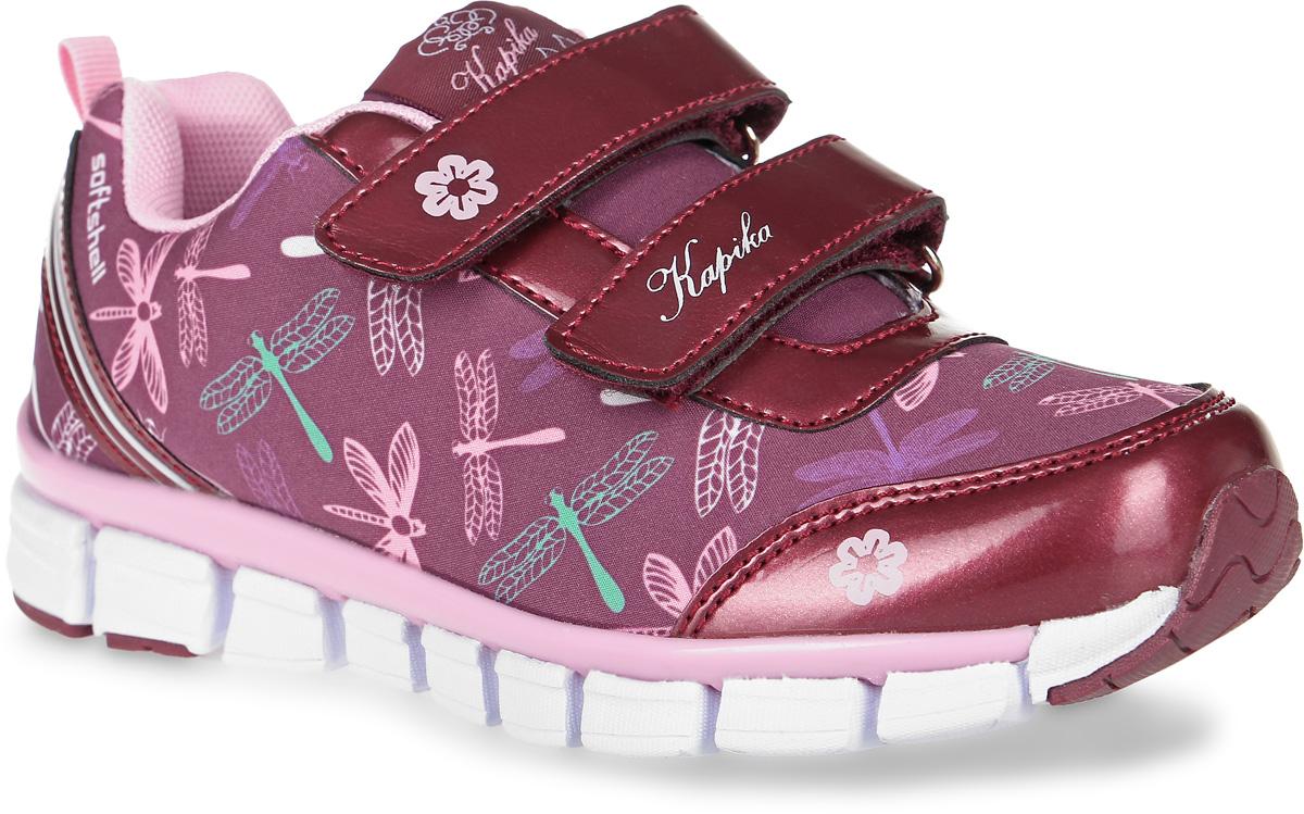 Кроссовки73300с-1Кроссовки от Kapika выполнены из текстиля, декорированного оригинальным принтом, с элементами из искусственной кожи. Подъем модели оформлен застежками-липучками. Подкладка изготовлена из текстиля. Стелька из легкого ЭВА-материала с поверхностью из кожи дополнена супинатором, сохраняет комфортный микроклимат обуви, эффективно поглощает влагу, неприятные запахи и вибрации, снижает ударную нагрузку. Облегченная подошва из ЭВА со вставками из ТЭП и полимера повышает износостойкость и сцепление с покрытием.