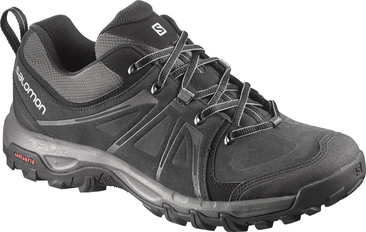 КроссовкиL37689500Трекинговые мужские кроссовки Evasion Ltr с верхом из замшевых вставок дополнены защитной синтетической накладкой на носке. Подкладка и стелька изготовлены из текстиля. Модель с защитой от грязи и защитной накладкой на заднике. Не оставляющая следов резины подошва Contagrip, промежуточная подошва изготовлена из пластика и ЭВА. В этих ботинках вы готовы к любым приключениям в горах и сельской местности.