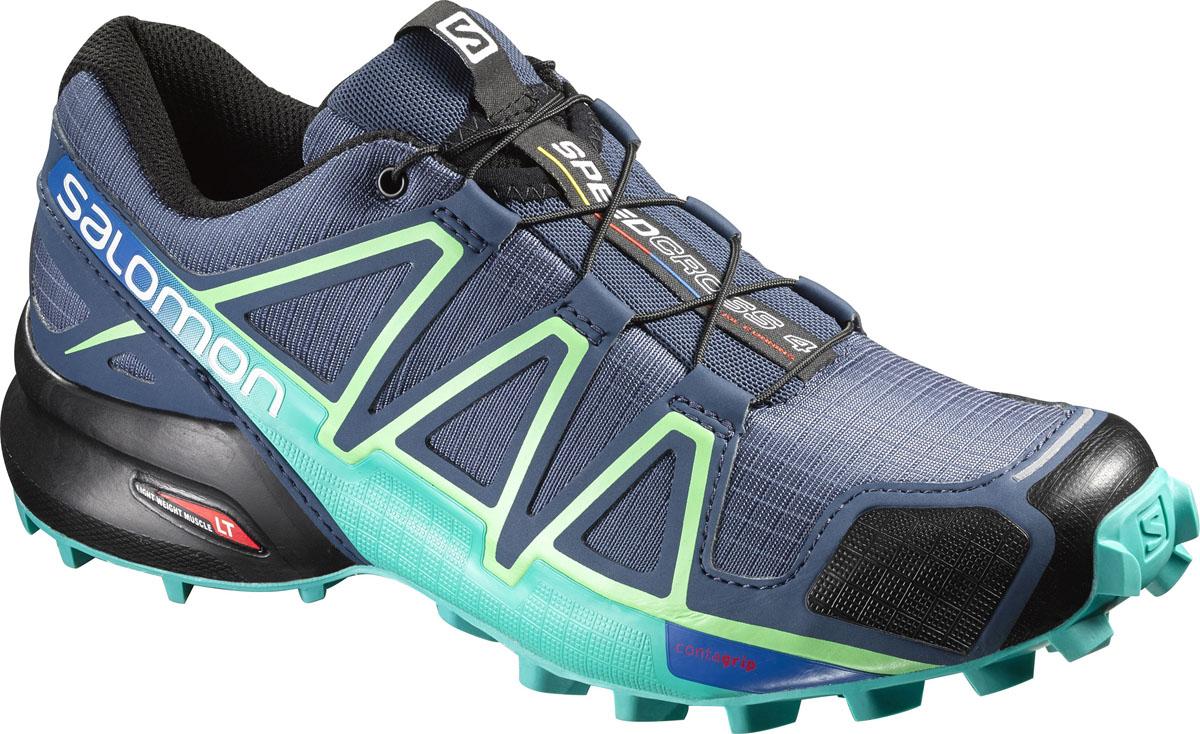 КроссовкиL38309700Беговые женские кроссовки от Salomon Speedcross 4 W выполнены на 64,3% из синтетического материала и на 35,7% из текстиля. Конструкция верха Sensifit с пропиткой Mudguard не пропускает грязь и воду. Подъем оформлен шнуровкой с фиксатором, благодаря которой обувь сидит плотно на ноге, и дополнен кармашком для шнурков. Стелька Ortholite из ЭВА материала с текстильным верхним покрытием создает более прохладное и сухое пространство под стопой. Мягкая верхняя часть и подкладка, изготовленная из текстиля, обеспечивают дополнительный комфорт и предотвращают натирание. Язычок дополнен текстильной нашивкой с символикой бренда. Светоотражающие элементы обеспечат лучшую видимость в темное время суток. Подошва Contagrip не оставляет следов и обеспечивает отличное сцепление со скользкой поверхностью. Такие кроссовки займут достойное место в коллекции вашей спортивной обуви.