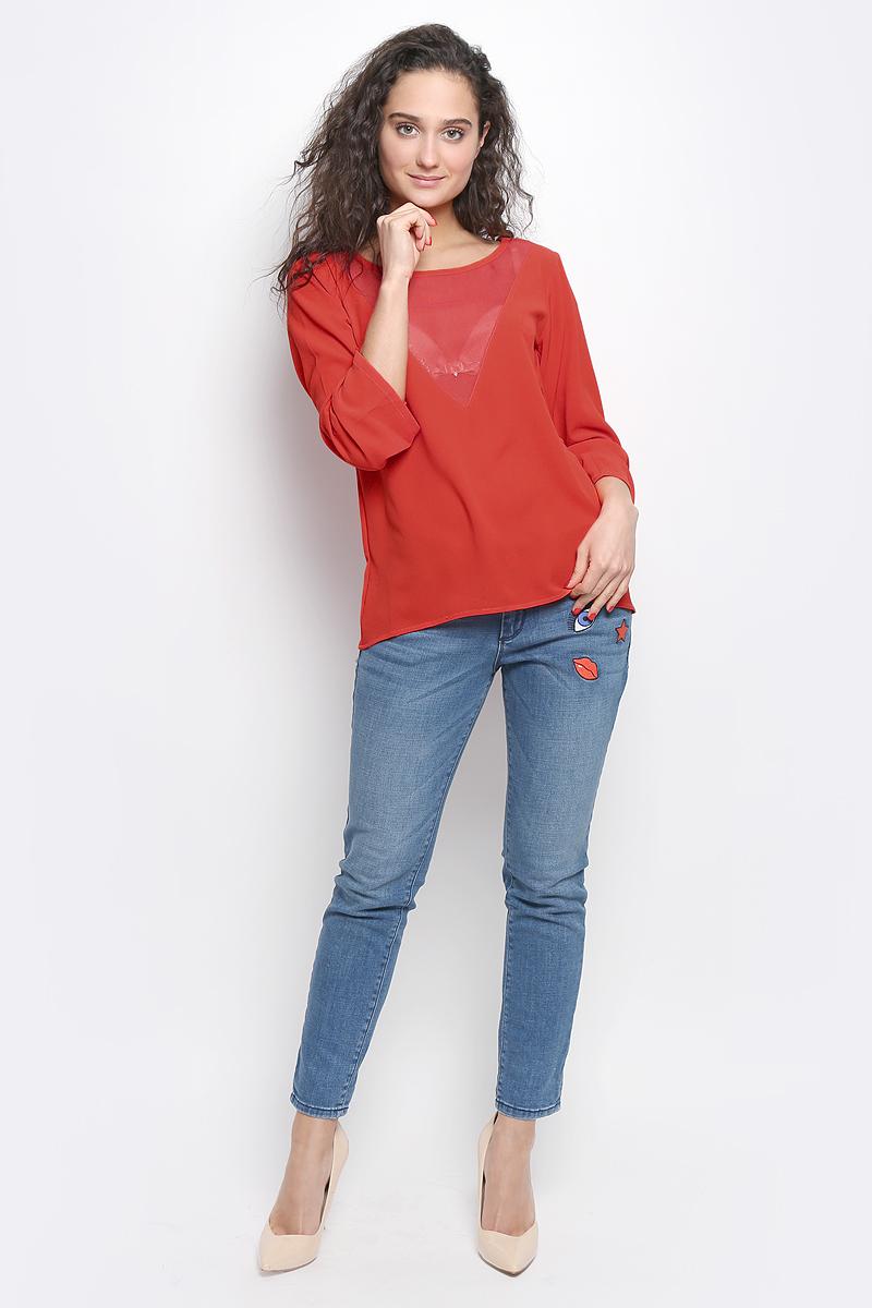 Блузка2032977.00.75_4239Женская блуза Tom Tailor Contemporary с рукавами длиной 7/8 и круглым вырезом горловины выполнена из полиэстера. Блузка имеет свободный крой, на груди дополнена полупрозрачной вставкой.