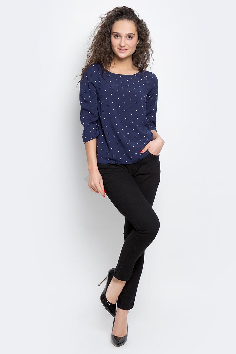 Блузка2033061.09.75_8210Женская блуза Tom Tailor Contemporary с рукавами длиной 3/4 и круглым вырезом горловины выполнена из натуральной вискозы. Оформлена модель принтом в горох.