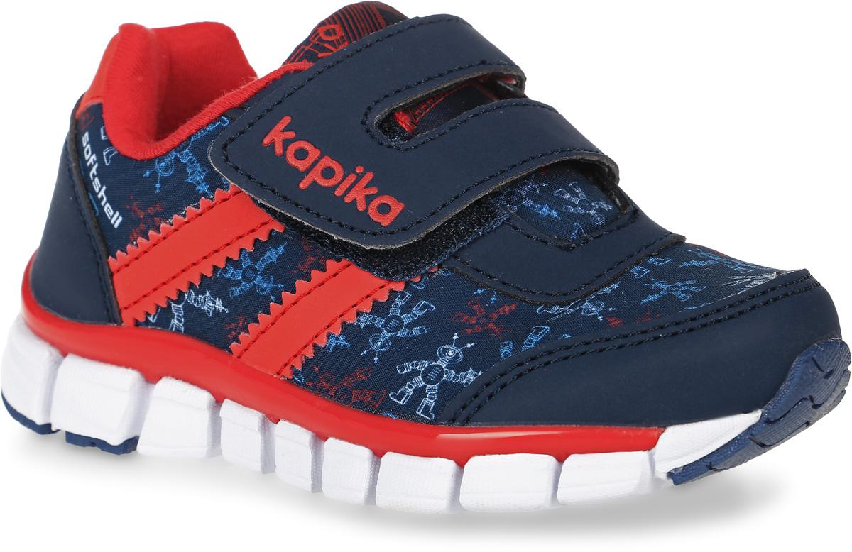71070с-1Кроссовки от Kapika выполнены из текстиля со вставками из искусственной кожи. Подъем модели оформлен застежками-липучками. Подкладка изготовлена из текстиля. Стелька из легкого ЭВА-материала с поверхностью из кожи дополнена супинатором, сохраняет комфортный микроклимат обуви, эффективно поглощает влагу, неприятные запахи и вибрации, снижает ударную нагрузку. Облегченная подошва из ЭВА-материала с добавлением ТЭП и полимерного материала повышает износостойкость, увеличивает сцепление с покрытием.