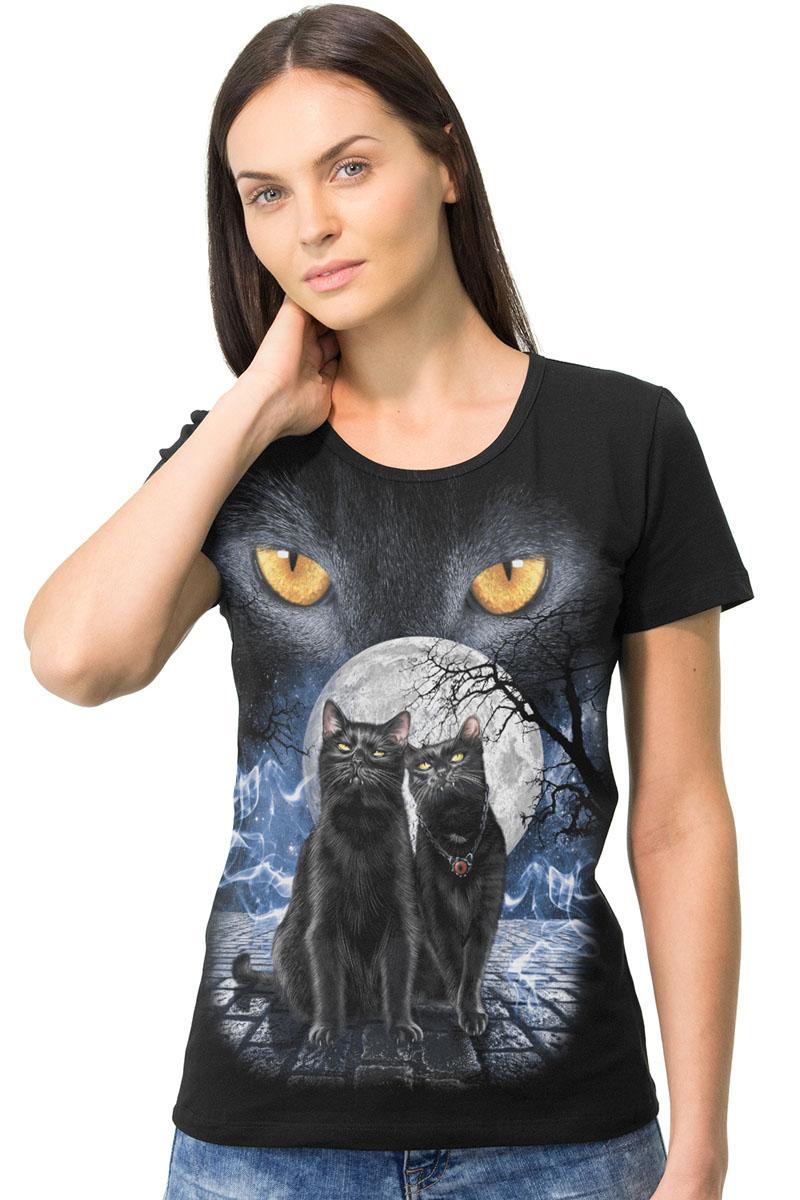 Футболка1-6Стильная женская футболка MF Глаза кошки выполнена из мягкого трикотажного полотна. Модель с круглым вырезом горловины и короткими рукавами оформлена оригинальным принтом. Воротник дополнен мягкой эластичной бейкой. Универсальный цвет позволяет сочетать модель с любой одеждой.