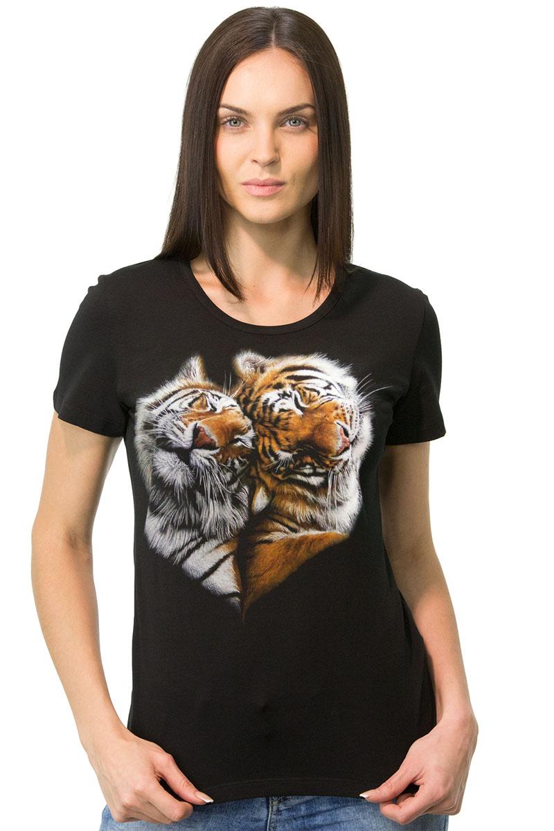 Футболка1-18Стильная женская футболка MF Тигры сердце выполнена из натурального хлопка. Модель с круглым вырезом горловины и короткими рукавами оформлена оригинальным принтом. Воротник дополнен мягкой эластичной бейкой. Универсальный цвет позволяет сочетать модель с любой одеждой.