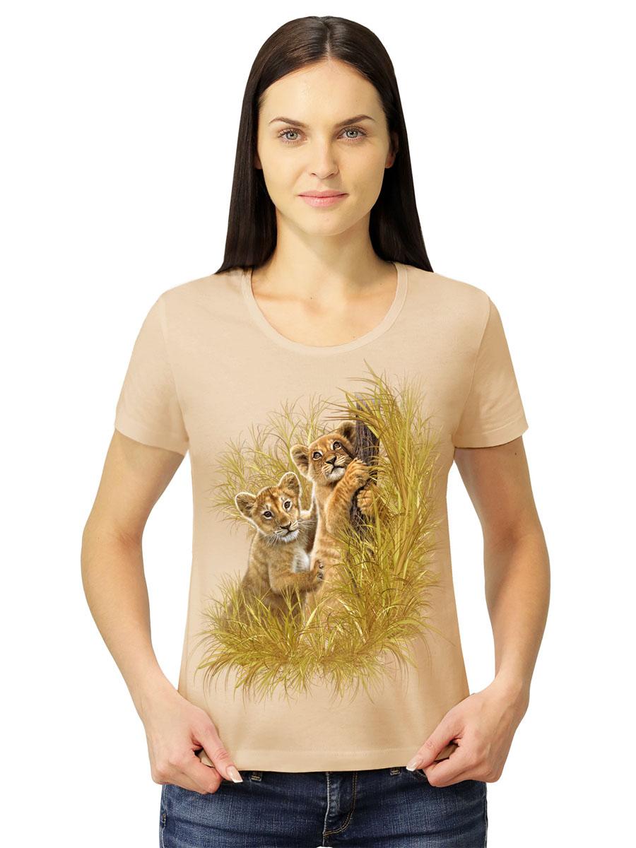 Футболка1-67Стильная женская футболка MF Львята в прериях выполнена из натурального хлопка. Модель с круглым вырезом горловины и короткими рукавами оформлена оригинальным принтом. Воротник дополнен мягкой эластичной бейкой. Универсальный цвет позволяет сочетать модель с любой одеждой.