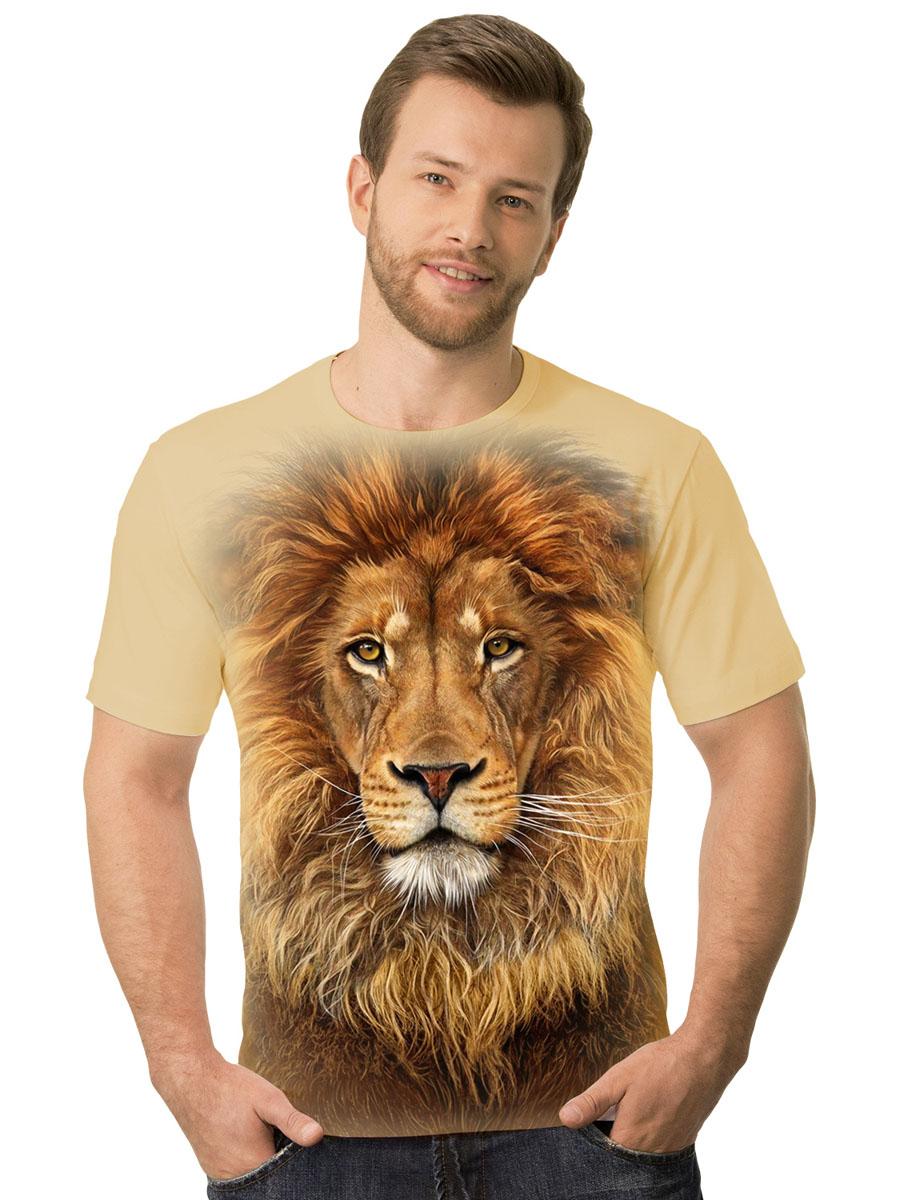 Футболка2-69Стильная мужская футболка MF Лев фас выполнена из натурального хлопка. Модель с круглым вырезом горловины и короткими рукавами оформлена ярким принтом. Воротник дополнен мягкой эластичной бейкой. Универсальный цвет позволяет сочетать модель с любой одеждой.