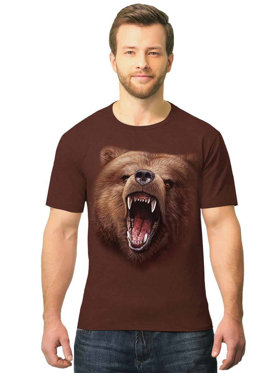 Футболка2-89Стильная мужская футболка MF Бурый медведь выполнена из натурального хлопка. Модель с круглым вырезом горловины и короткими рукавами оформлена оригинальным принтом. Воротник дополнен мягкой эластичной бейкой. Яркий цвет модели позволяет создавать стильные образы.