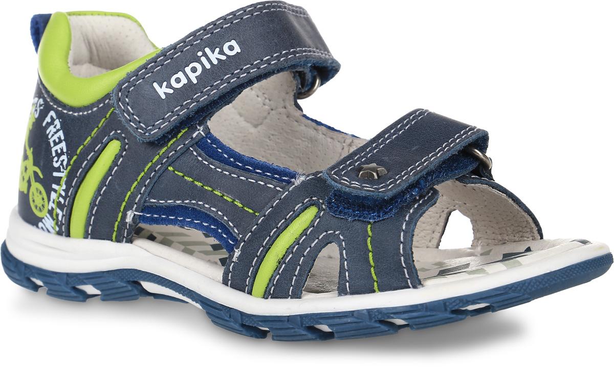 32292-1Сандалии Kapika, выполненные из натуральной кожи, оформлены оригинальным принтом и контрастной прострочкой. На ноге модель фиксируется с помощью двух ремешков с застежками-липучками, один из которых оформлен надписью с названием бренда. Мягкий кант создает комфорт при движении. Ярлычок на заднике облегчит надевание модели. Внутренняя поверхность и стелька выполнены из натуральной кожи. Стелька дополнена супинатором с перфорацией, который обеспечивает правильное положение ноги ребенка при ходьбе, предотвращает плоскостопие. Подошва изготовлена из ТЭП-материала и дополнена рельефным рисунком.