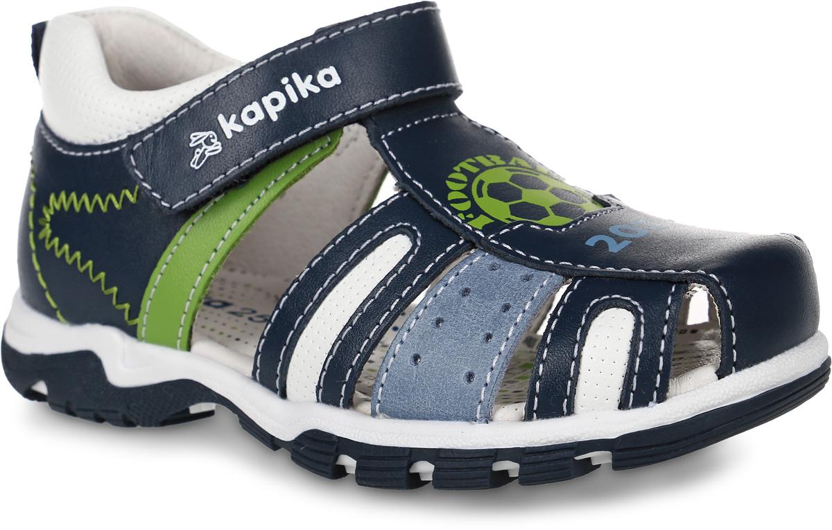 32276-3Сандалии Kapika, выполненные из натуральной кожи, оформлены оригинальным принтом и контрастной прострочкой. На ноге модель фиксируется с помощью ремешка с застежкой-липучкой, который оформлен тисненой надписью с названием бренда. Мягкий кант создает комфорт при движении. Ярлычок на заднике облегчит надевание модели. Внутренняя поверхность и стелька выполнены из натуральной кожи. Стелька дополнена супинатором с перфорацией, который обеспечивает правильное положение ноги ребенка при ходьбе, предотвращает плоскостопие. Подошва изготовлена из ТЭП-материала и дополнена рельефным рисунком.