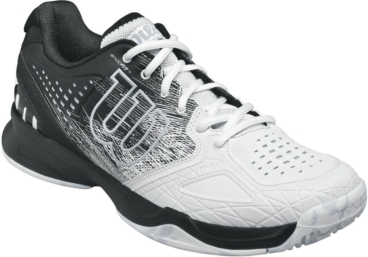 КроссовкиWRS320570Мужские кроссовки для тенниса Kaos Comp от Wilson - легкая и комфортная модель для быстрых и атакующих спортсменов всех возрастов. Кроссовки создают законченный образ с одеждой бренда Wilson. Верх модели выполнен из искусственной кожи со вставками из дышащего текстиля и оформлен названием и логотипом бренда. Классическая шнуровка гарантирует удобство и надежно фиксирует модель на ноге. Технология EndoFit создает идеальный обхват и посадку по ноге. Технология 2D-F.S для устойчивости и стабильности при боковых движениях; шасси Pro-Torque Chassis LT в верхней части подошвы контролирует поверхности при небольшом весе обуви. Технология Dynamic Fit-Dfz дает отличный контакт с кортом. Химически активные вещества R-DST в пяточной части для максимальной амортизации. Технология Duralast для лучшего сцепления с поверхностью корта. Съемная стелька EVA с внешней текстильной поверхностью обеспечивает комфорт во время пребывания на улице. Антибактериальная пропитка против запаха.