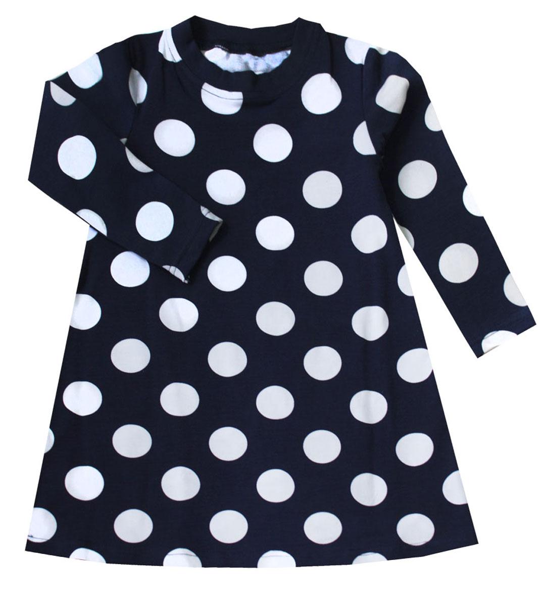21743Платье для девочки КотМарКот Горох выполнено из натурального хлопка. Модель средней длины с длинными рукавами имеет круглый вырез горловины, отделанный эластичной бейкой. Платье оформлено принтом в крупный горох.