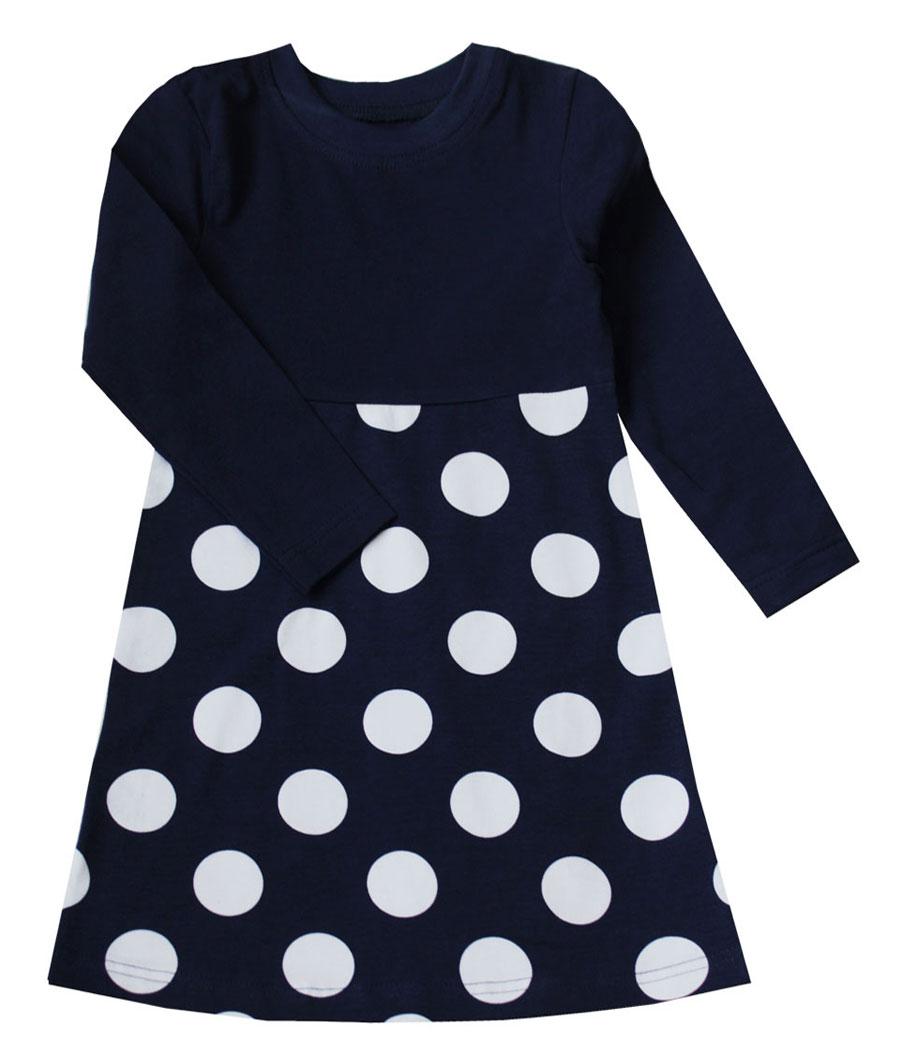Платье21843Платье для девочки КотМарКот Горох выполнено из натурального хлопка. Модель средней длины с длинными рукавами имеет круглый вырез горловины, отделанный эластичной бейкой. Пришивная юбка платья оформлена принтом в крупный горох.