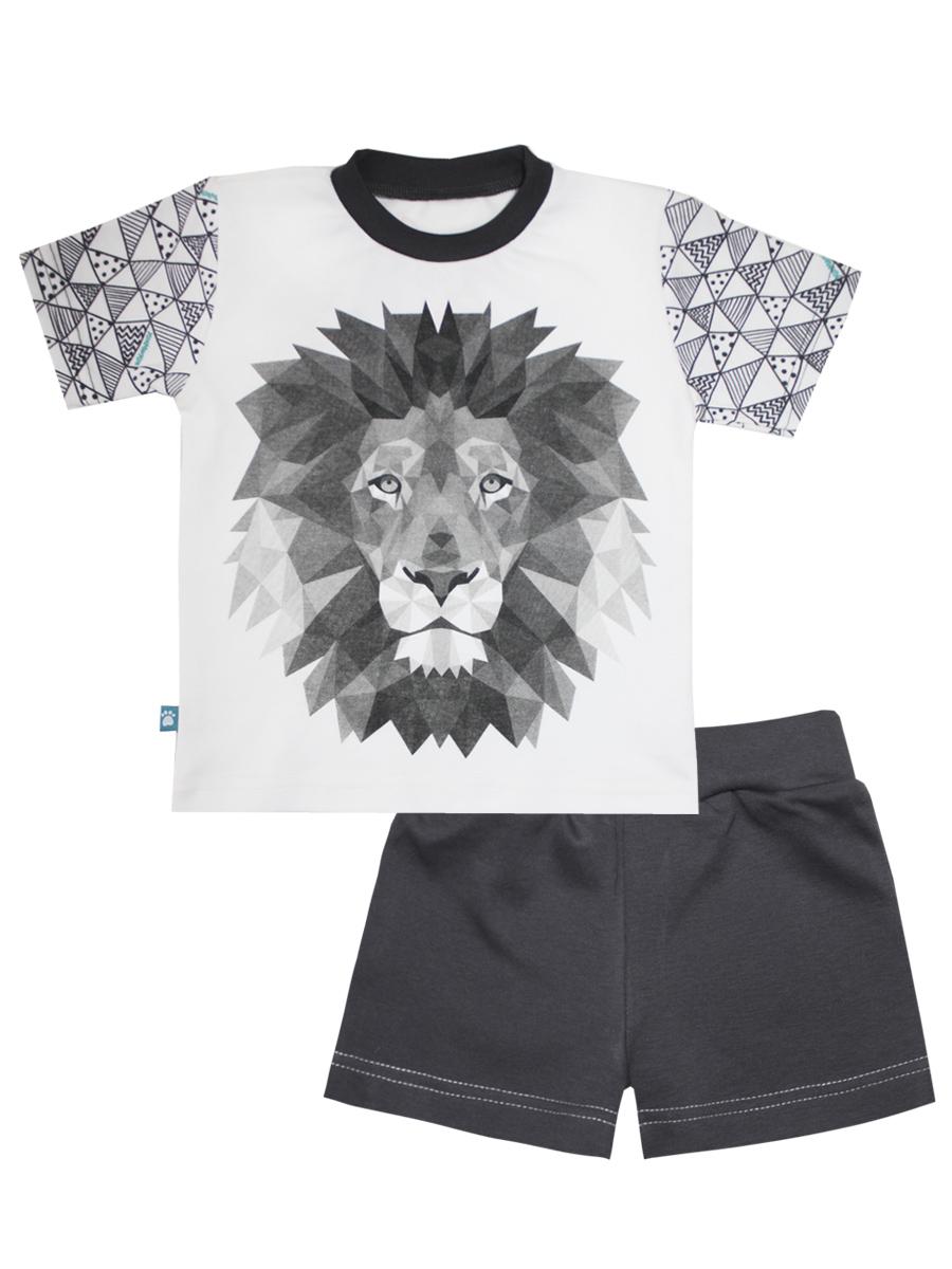 Пижама16373Пижама для мальчика КотМарКот Геометрия включает в себя футболку и шорты. Пижама изготовлена из натурального хлопка. Футболка с короткими рукавами и круглым вырезом горловины оформлена крупным принтом с изображением льва. Горловина дополнена эластичной вставкой. Шорты с широкой эластичной резинкой на поясе имеют комфортные эластичные швы. Модель оформлена контрастной декоративной отстрочкой.