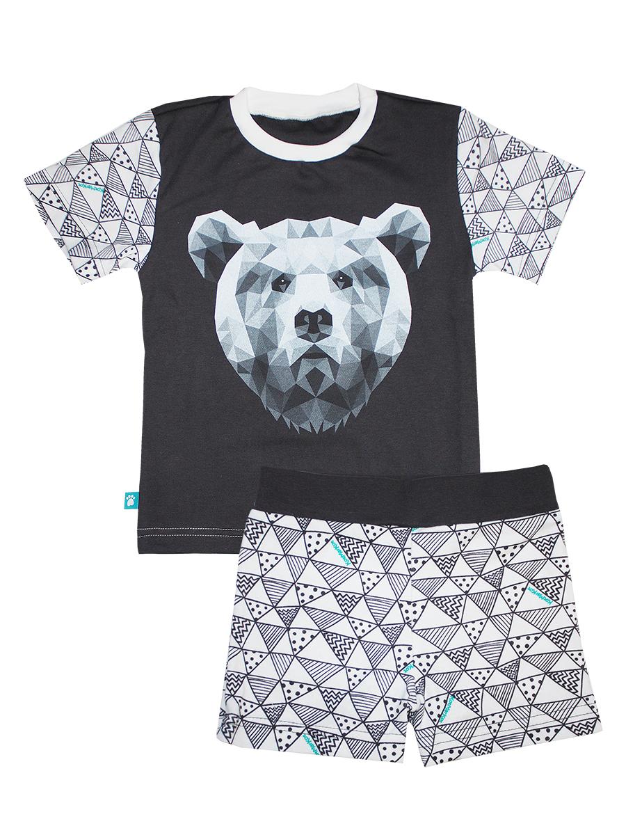 Пижама16473Пижама для мальчика КотМарКот Геометрия включает в себя футболку и шорты. Пижама изготовлена из натурального хлопка. Футболка с короткими рукавами и круглым вырезом горловины оформлена оригинальным принтом. Шорты дополнены широкой эластичной резинкой на поясе.