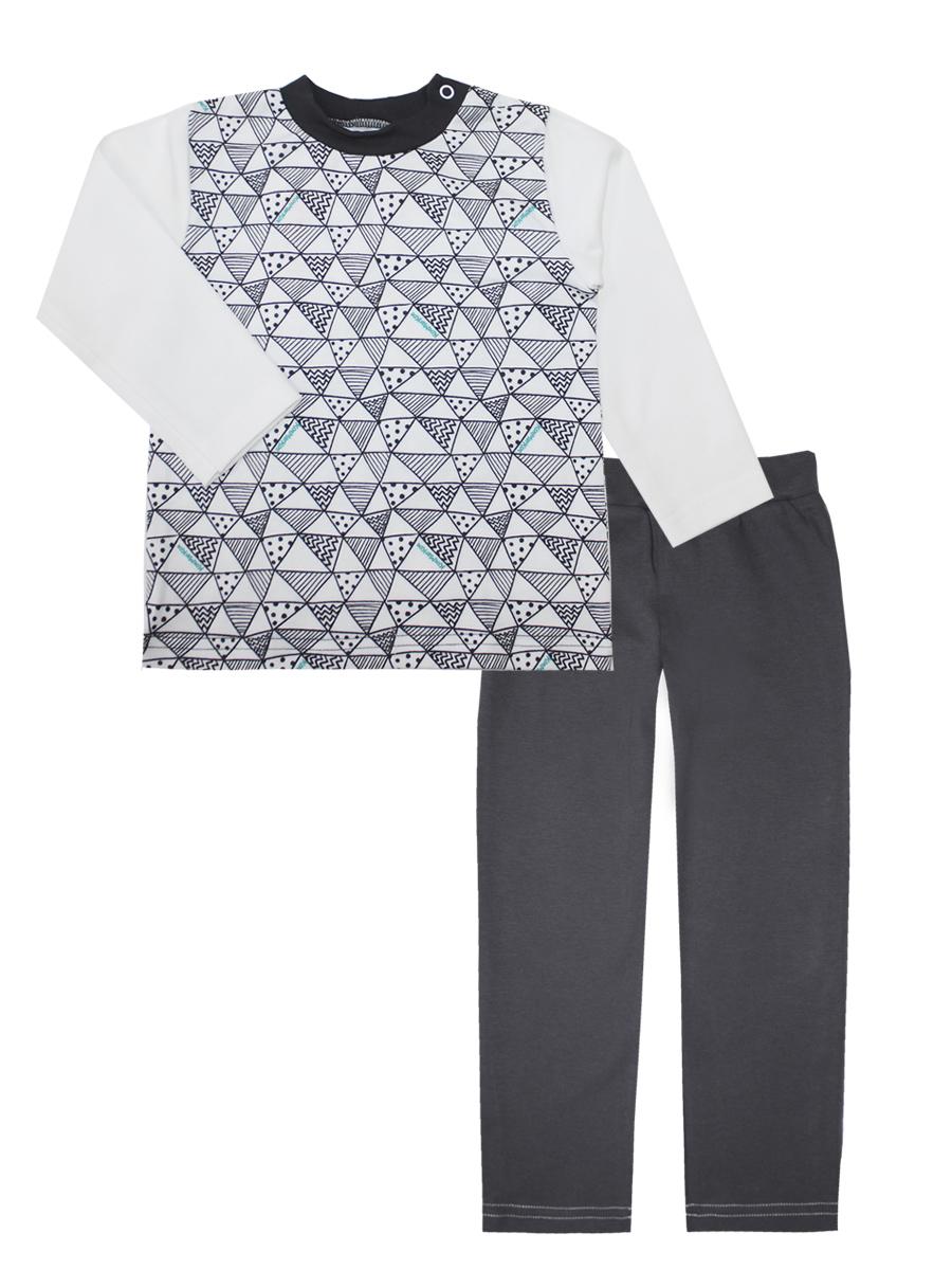 Пижама16873Пижама для мальчика КотМарКот Геометрия включает в себя лонгслив и брюки. Пижама изготовлена из натурального хлопка. Лонгслив с длинными рукавами и круглым вырезом горловины дополнен двумя кнопками на плече для удобства переодевания. Свободные брюки с широкой эластичной резинкой на поясе.