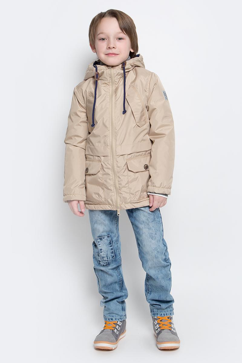 70034_BOB_вар.1Модная куртка-парка Boom! идеально подойдет для вашего мальчика в прохладное время года. Модель изготовлена из 100% полиэстера. Подкладка, выполненная из полиэстера с добавлением вискозы и хлопка, приятная на ощупь. В качестве утеплителя используется синтепон - 100% полиэстер (100 г/м2). Куртка с капюшоном застегивается спереди на застежку- молнию. Капюшон дополнен затягивающимся шнурком. Изделие дополнено спереди двумя накладными карманами с клапанами на застежках-липучках и двумя нашитыми клапанами с имитацией под карманы. Манжеты рукавов дополнены застежками- кнопками. Нижняя часть спинки оформлена фирменной светоотражающей нашивкой, один из рукавов - нашивкой с названием бренда. Такая стильная парка станет прекрасным дополнением к гардеробу вашего ребенка, она подарит комфорт и тепло.