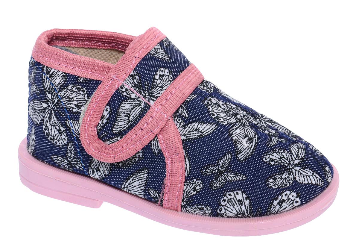 Туфли11-37 БТуфли для девочки Римал выполнены из плотного текстиля. Ремешок с липучкой обеспечит оптимальную посадку модели на ноге. Подкладка и стелька выполнены из мягкого текстиля, приятного коже. Туфли оформлены оригинальным принтом с бабочками.