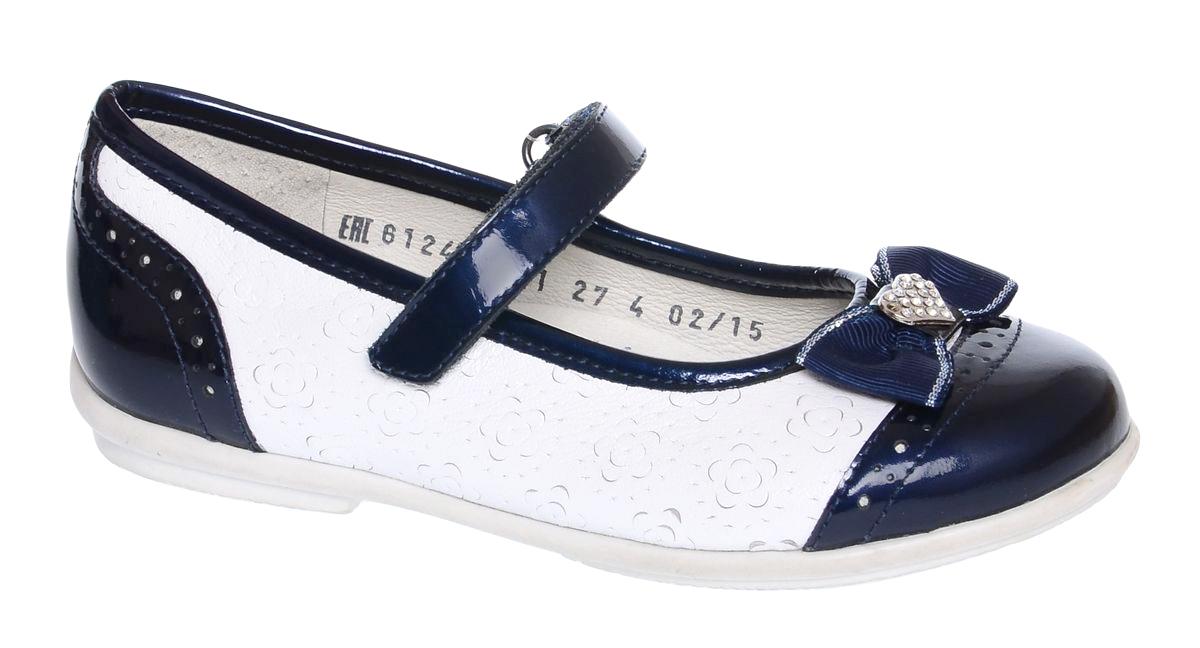 Туфли6-612451501Модные туфли от Elegami выполнены из натуральной кожи с тиснением. Мысок, пятка и ремешок - из лаковой кожи контрастного цвета. На мыске расположен очаровательный бантик со стразами. Ремешок на застежке-липучке гарантирует надежную фиксацию обуви на ноге. Стелька с супинатором, выполненная из натуральной кожи, обеспечивает правильное положение ноги ребенка при ходьбе, предотвращает плоскостопие. Подошва выполнена из легкого и прочного ТЭП-материала. Рифленая поверхность подошвы гарантирует отличное сцепление с любой поверхностью. Удобные туфли займут достойное место в гардеробе вашей девочки.