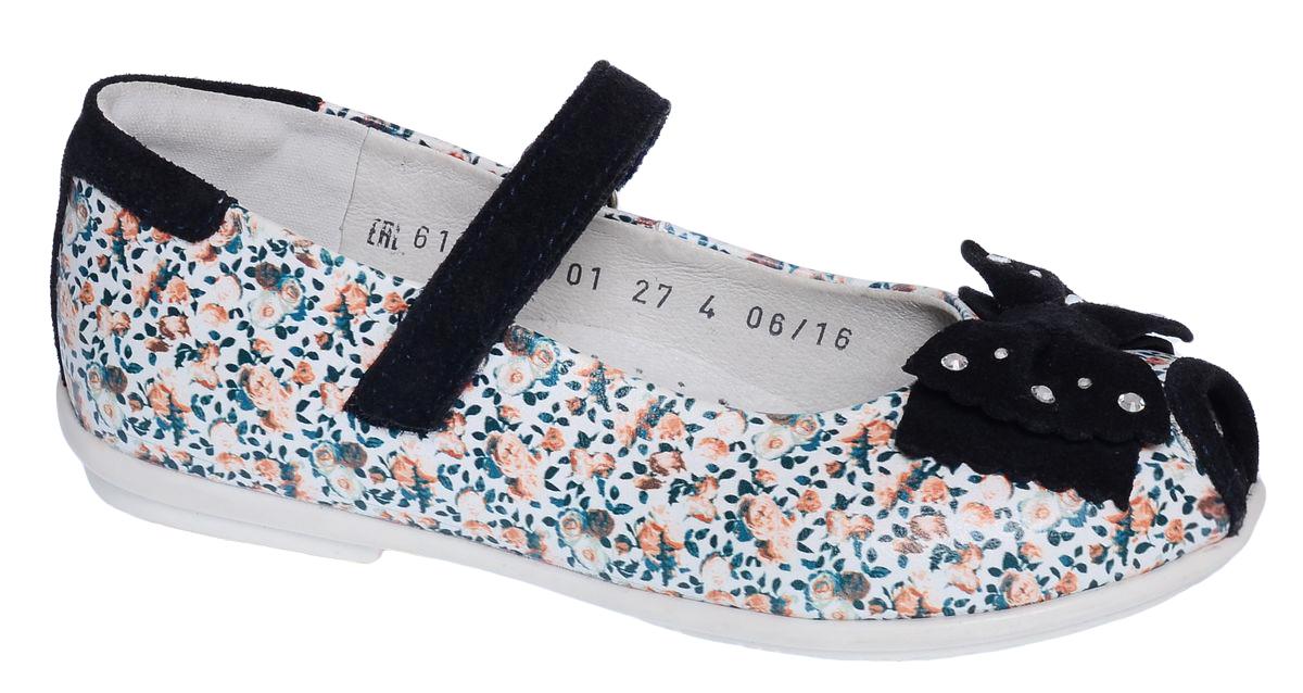Туфли6-610151701Яркие туфли от Elegami выполнены из натуральной кожи с цветочным принтом и отделкой из замши. Модель с открытым мыском декорирована очаровательным бантиком со стразами. Ремешок на застежке-липучке гарантирует надежную фиксацию обуви на ноге. Стелька с супинатором, выполненная из натуральной кожи, обеспечивает правильное положение ноги ребенка при ходьбе, предотвращает плоскостопие. Подошва выполнена из легкого и прочного ТЭП-материала. Рифленая поверхность подошвы гарантирует отличное сцепление с любой поверхностью. Удобные туфли займут достойное место в гардеробе вашей девочки.