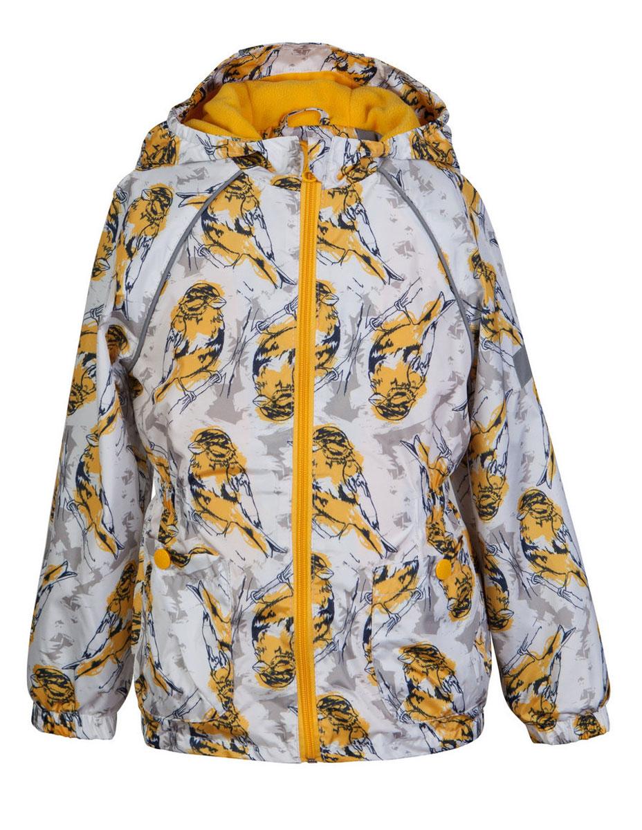 Ветровка3К1715Легкая весенняя ветровка от Jicco By Oldos из принтованной курточной ткани станет украшением весеннего гардероба! Такая курточка идеально подойдет на ветреную погоду с температурой +10…+20 С, защитит от легкого весеннего дождика и переменчивого ветра. Флисовая подкладка на грудке, спинке и в капюшоне. Внутренняя ветрозащитная планка с защитой подбородка от прищемления; капюшон не отстегивается, для лучшего прилегания по бокам вшита резинка; манжеты на резинке; талия и низ куртки так же присборены на резинку. Ветровка оснащена светоотражающими элементами и карманами на кнопке.