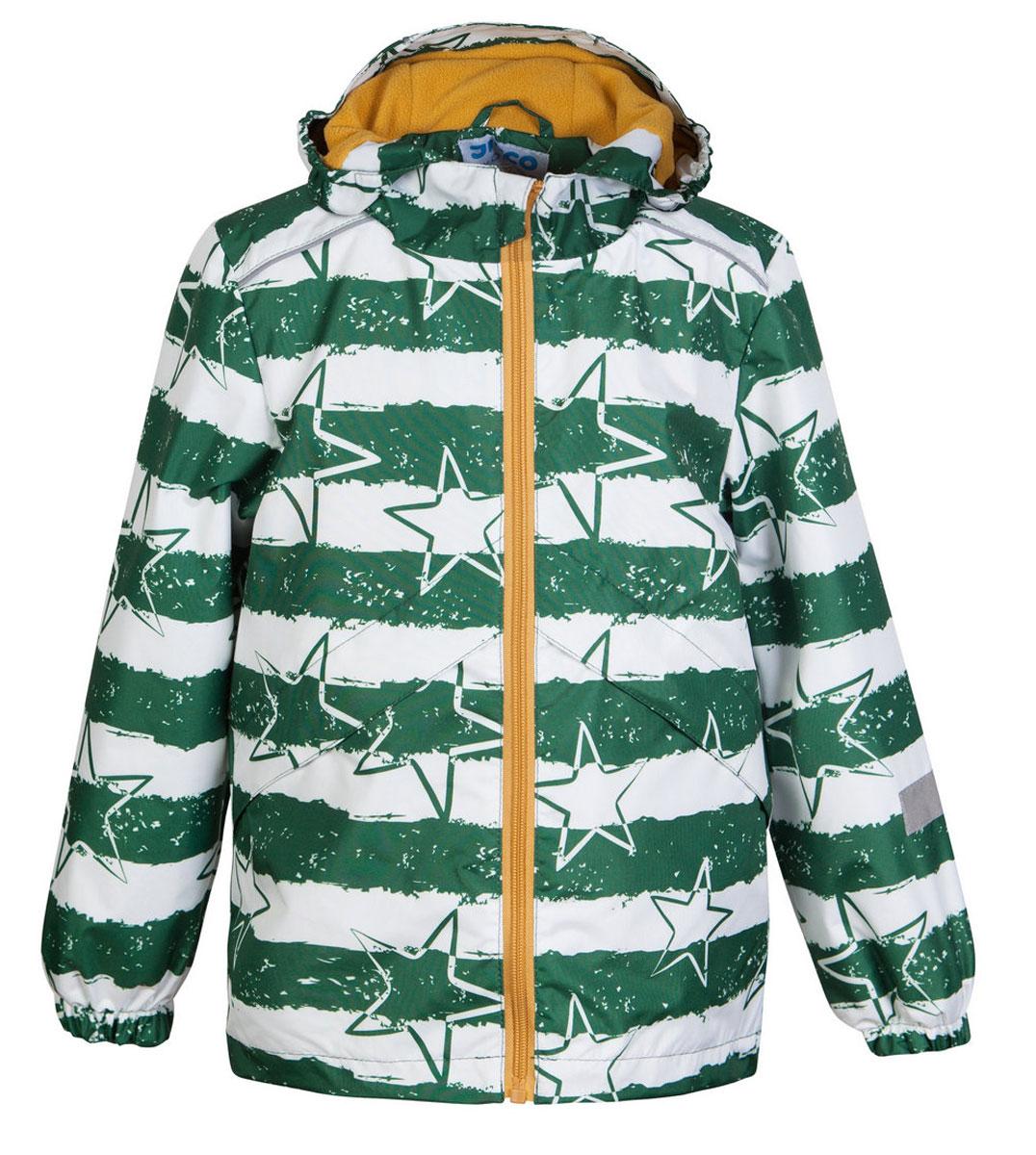 Ветровка3К1720Легкая весенняя ветровка от Jicco By Oldos из принтованной курточной ткани станет украшением весеннего гардероба! Такая курточка идеально подойдет на ветреную погоду с температурой +10…+20 С, защитит от легкого весеннего дождика и переменчивого ветра. Флисовая подкладка на грудке, спинке и в капюшоне. Внутренняя ветрозащитная планка с защитой подбородка от прищемления; капюшон не отстегивается, для лучшего прилегания по бокам вшита резинка; манжеты на резинке; регулируемая утяжка по низу. Ветровка оснащена светоотражающими элементами и карманами на молнии.