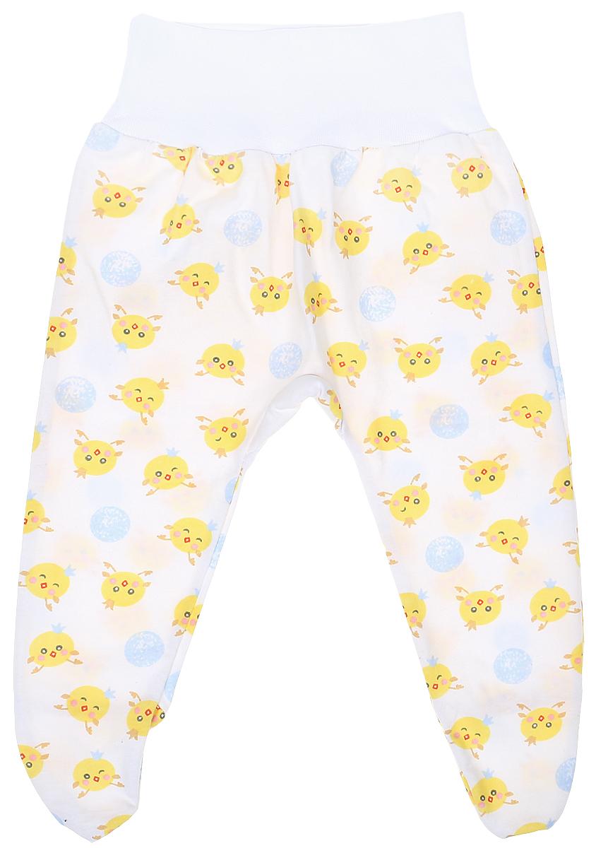 Ползунки5207Детские ползунки Чудесные одежки выполнены из натурального хлопка, благодаря чему великолепно пропускают воздух и обеспечивают комфорт и удобство, не раздражая нежную детскую кожу. Модель с закрытыми ножками и завышенной линией талии имеет широкий эластичный пояс. Ползунки оформлены принтом с изображением забавных цыплят.
