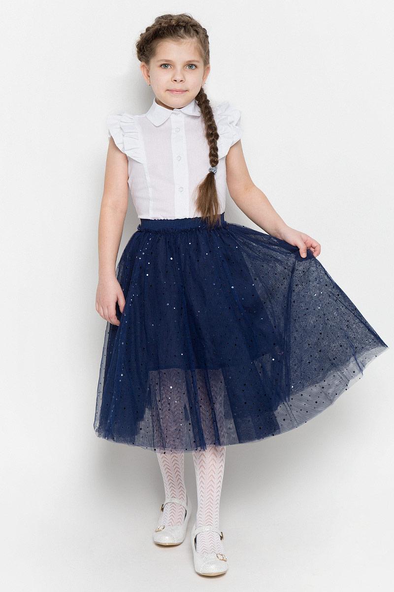 Юбка462029Пышная юбка-пачка для девочки выполнена из легкого сетчатого материала. Хлопковая подкладка и пояс на мягкой резинке обеспечивают максимальное удобство. Модель оформлена россыпью сверкающих пайеток.