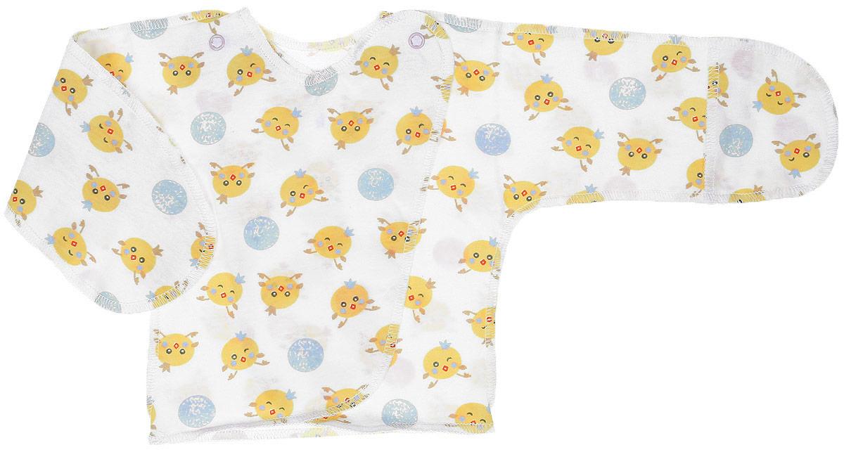 5003Удобная детская распашонка Чудесные одежки послужит идеальным дополнением к гардеробу вашей крохи. Модель изготовлена из натурального хлопка, благодаря чему она очень мягкая и легкая. Распашонка с круглым вырезом горловины и длинными цельнокроеными рукавами выполнена швами наружу и дополнена защитными рукавичками. Модель-кимоно застегивается на внутреннюю и внешнюю кнопку, что помогает при переодевании малыша. Оформлена распашонка интересным принтом с изображением зайчиков.