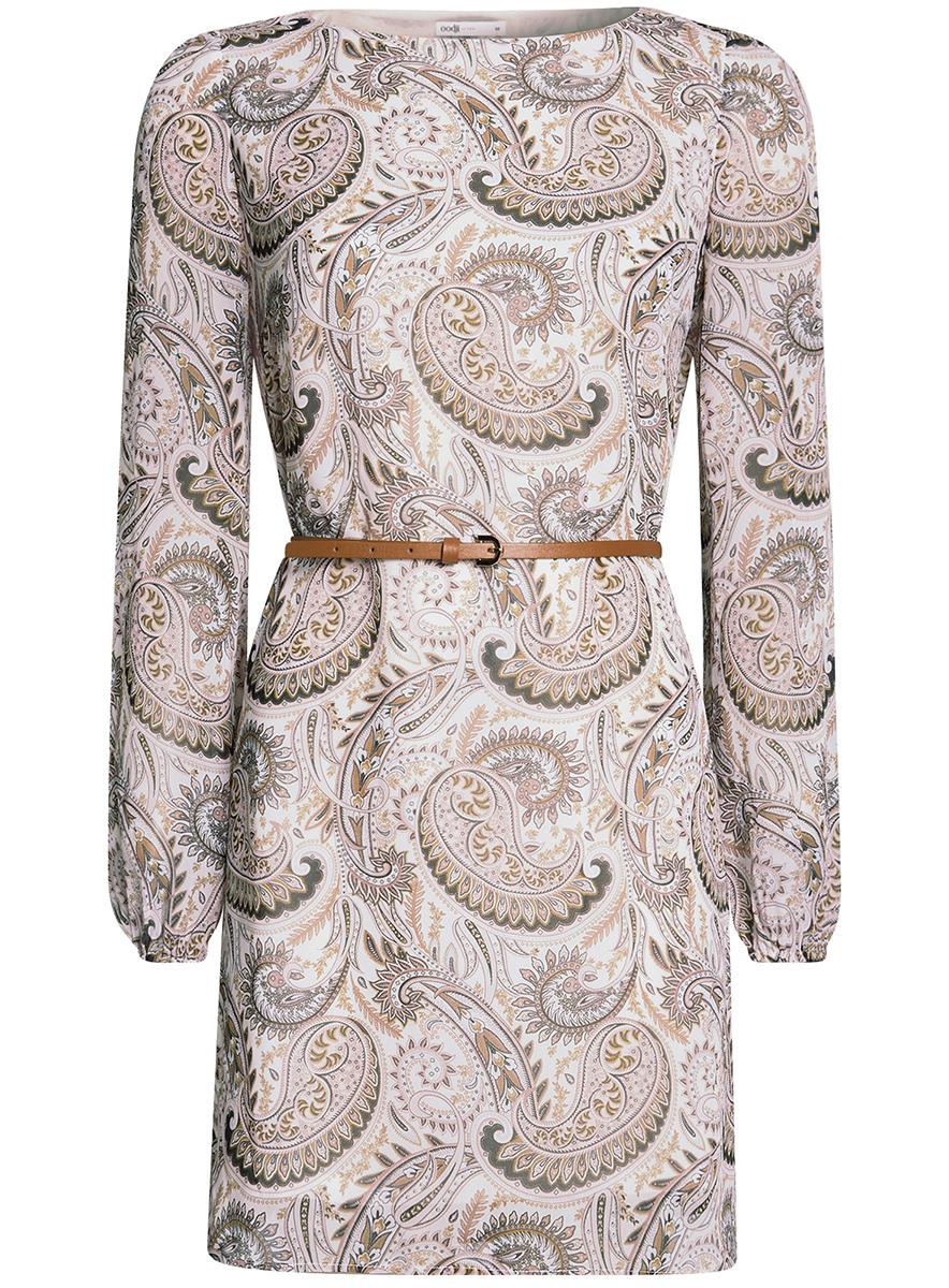 Платье11900150-9B/19538/3733EСтильное платье oodji Ultra выполнено из полиэстера и оформлено стильным узором. Модель с круглым вырезом горловины и длинными рукавами дополнена узким ремнем из искусственной кожи с металлической пряжкой. Низ рукавов собран на резинку.