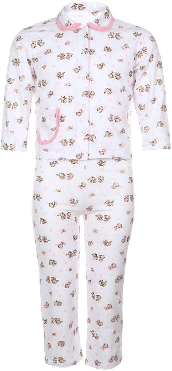 Пижама5562Уютная детская пижама Чудесные одежки выполнена из натурального хлопка. В комплект входит кофточка и брюки. Кофточка с отложным воротником и стандартными длинными рукавами застегивается спереди на кнопки. Дополнена модель накладным карманом. Кармашек и воротник изделия дополнены контрастной хлопковой бейкой. Брюки имеют эластичный пояс. Оформлена пижама интересным принтом с изображением зайчиков.