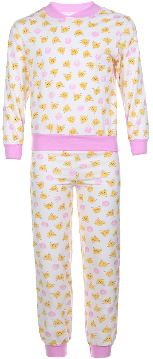 5Пижама для девочки Чудесные одежки выполнена из натурального хлопка. Пижама оформлена притом с милыми цыплятами. Кофта выполнена с длинными рукавами и удобным круглым воротом. Штанишки на талии собраны на резинку. Манжеты рукавов и штанишек, горловина и низ кофты отделаны эластичными мягкими резинками.