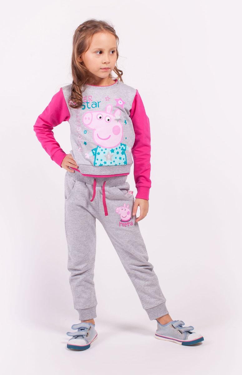 СвитшотZG 09292-MF1Свитшот для девочки Peppa Pig от Free Age выполнен из плотной хлопковой ткани. Модель с круглым вырезом горловины и стандартными длинными рукавами. Спереди изделие декорировано ярким принтом.